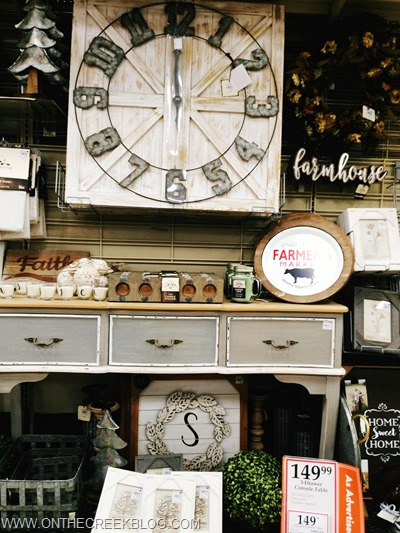 Painted furniture & large clock farmhouse display