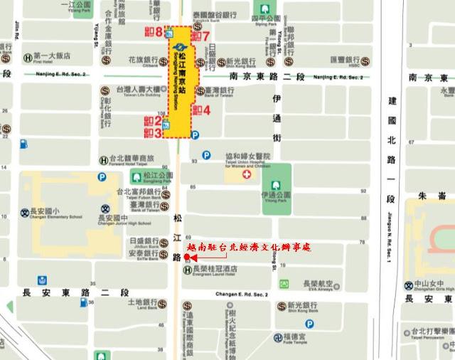駐越南臺北經濟文化辦事處位置示意圖