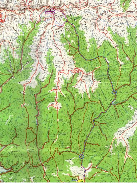 harta Fagaras - fragment - Moldoveanu prin Caldarea Valea Rea si coborare prin Caldarea Galbena