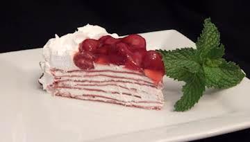 Cherry Red Velvet Crepe Torte