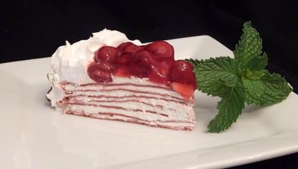 Cherry Red Velvet Crepe Torte Recipe