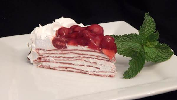 Cherry Red Velvet Crepe Torte