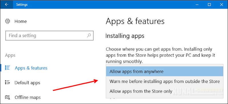 Change the app installation settings (www.kunal-chowdhury.com)