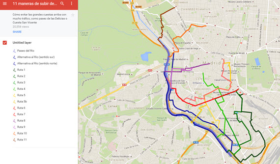 11 rutas para subir desde el río al centro de Madrid - pincha para ampliar el plano