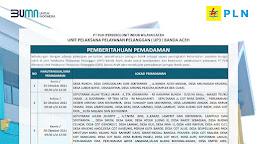 Jadwal Pemadaman Listrik Kota Banda Aceh dan Sekitarnya, 25, 26 dan 28 Oktober 2021