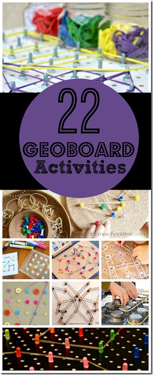 22 Geoboard Activities - so many really clever and unique ideas PLUS ideas on how to use a Geoboard. Great hands on math activity for preschool, kindergarten, 1st grade, 2nd grade, 3rd grade and more!