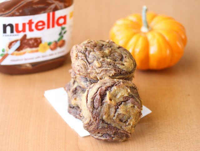 close-up photo of Pumpkin Nutella Swirl Cookies