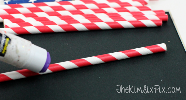 Gluing paper straws