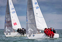 Top J/24 Teams- Ian Southworth and Tim Healy dueling at J/24 Worlds