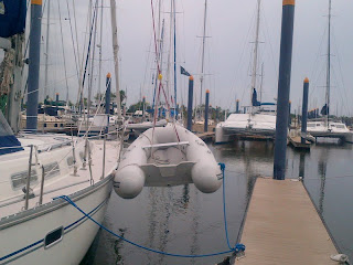 A way to keep a dinghy without davits