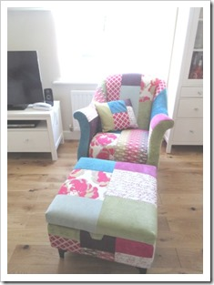 DFS shout armchair and pouffe