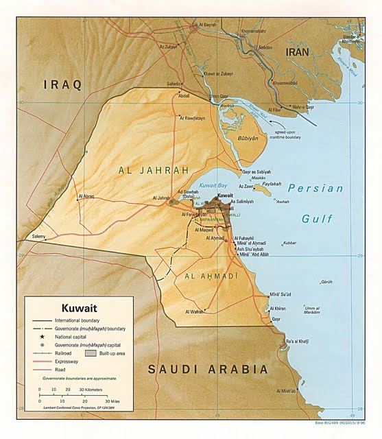 Kuwait map; The country covers an area of 17,820 square kilometers (6,880 sq mi) and has a population of about 5 million.