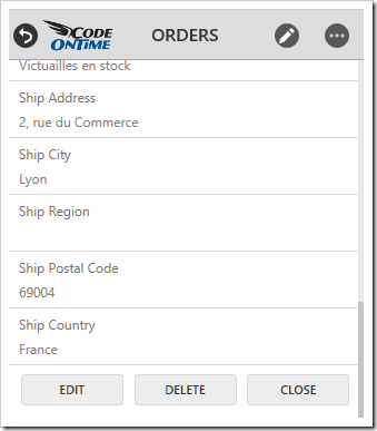 Very small screens will render buttons at the bottom of the form.