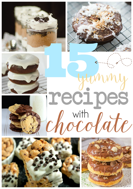 15 Yummy Recipes with Chocolate at GingerSnapCrafts.com #linkparty #recipes