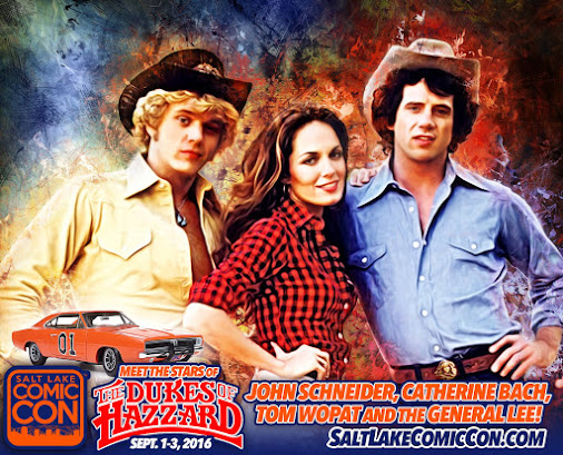 Don't miss The Dukes of Hazzard Reunion at #SLCC16! Meet John Schneider, Catherine Bach, and Tom Wopat...