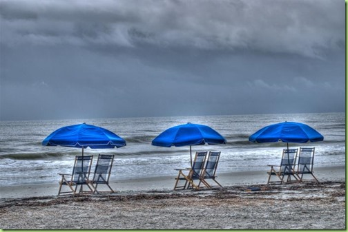 rain at the beach with chairs