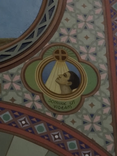 """A figura representa um homem cego que através da sua fé volta a ter visão pela virtude iluminativa da Paixão de Cristo. A graça da redenção, operada na cruz, e transmitida pela Eucaristia (a cruz sobre o pequeno círculo que simboliza a hóstia), é o foco inextinguível de luz que cura toda cegueira espiritual. """"Domine ut Videam"""", que significa, """"Senhor, que eu veja""""."""
