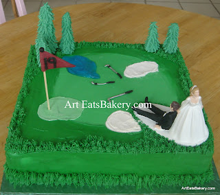 Creative golf course groom's cake design with edible trees, clubs, grass and sand. The bride and Groom are a cake topper