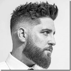 Low Fade with Messy Textured Top and Thick Beard