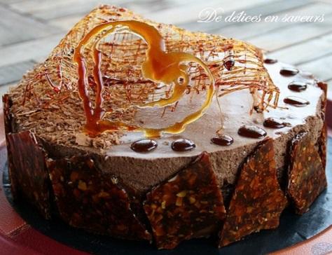 recette du délicieux gâteau tout chocolat et nougatine