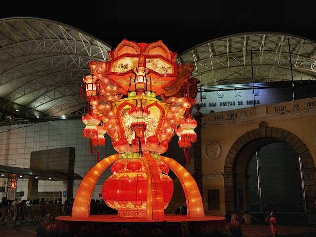 large lantern display for the Mid-Autumn Festival at Portas do Cerco in Macau