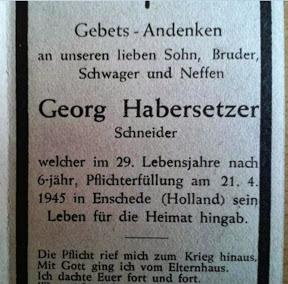 Bidprentje van Duitse Luftwaffe soldaat Georg Habersetzer die op 21 april 1945 in Enschede sterft.