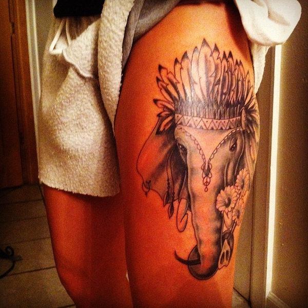 elefante_tatuagem_com_o_chefe_de_cocar_de_ndio