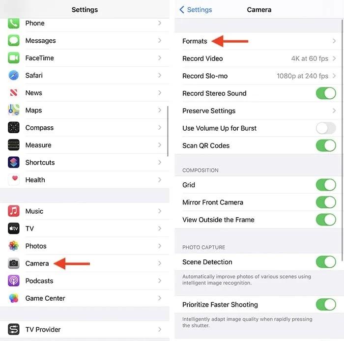 إفراغ تخزين iPhone تغيير تنسيق الكاميرا