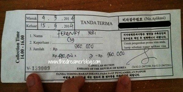 Tanda Terima Visa Korea Selatan