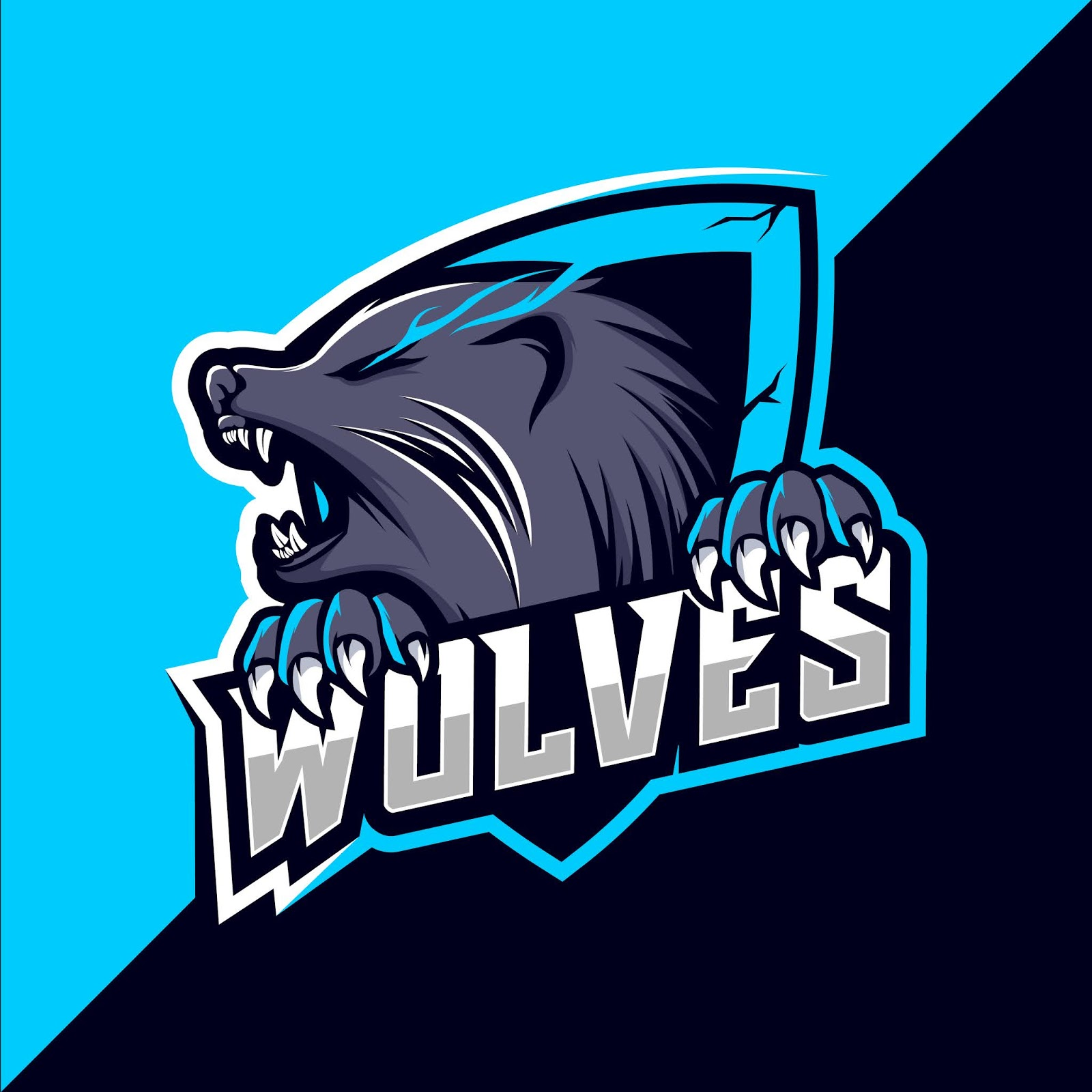 Wolf Wolves Mascot Esport Logo Design Free Download Vector CDR, AI, EPS and PNG Formats