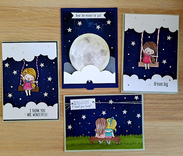 Starry night background for cardmaking