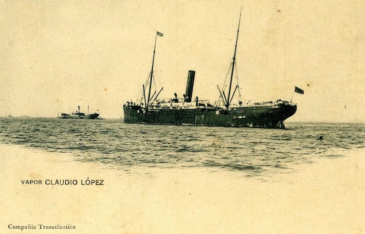 El vapor C. LOPEZ Y LOPEZ fondeado. POSTAL.jpg
