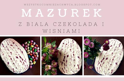 Wielkanocny mazurek z biała czekoladą i wiśniami