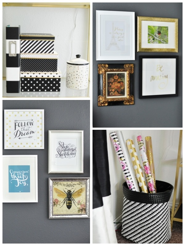 A Black White And Gold Home Office Filled With Thrifted Diy Bargain Finds