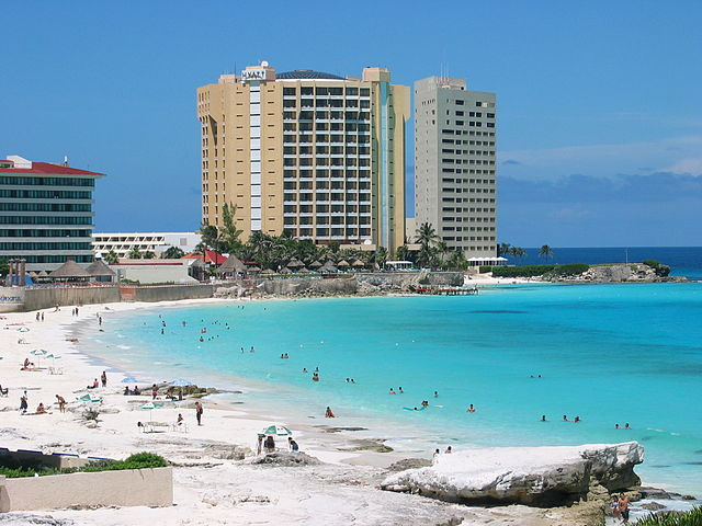 The white sandy beaches and azure waters of Cancun, Mexico