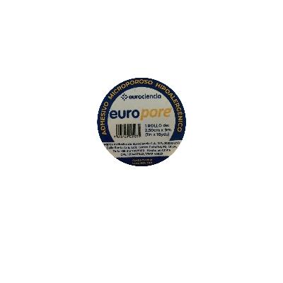 "adhesivo europore microporoso 1"" x 9m blanco eurociencia"