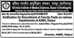 AIIMS Raipur Faculty Posts 2017 indgovtjobs