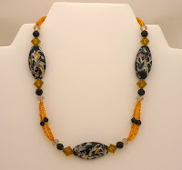 "Golden Choker - Ceramic & Crystal triple strand 14""   $30"
