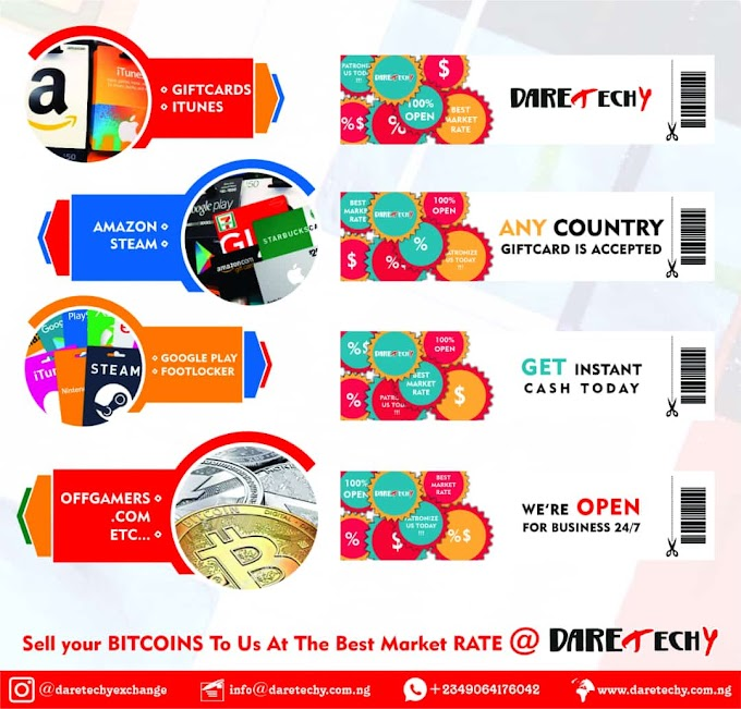 DaretechyExchange | Best Site to Redeem or Sell Gift cards in Exchange for Naira in Nigeria