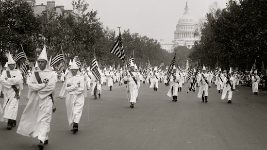Ku Klux Klan parade in DC in 1927 (GETTY IMAGES)