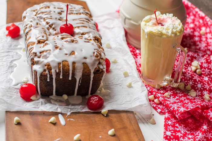 White Chocolate Cherry Eggnog Bread Recipe.