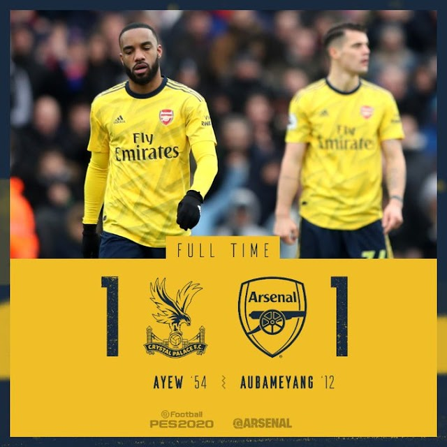 Aubameyang Red carded, Crystal Palace vs Arsenal 1-1 – Highlights [DOWNLOAD VIDEO]