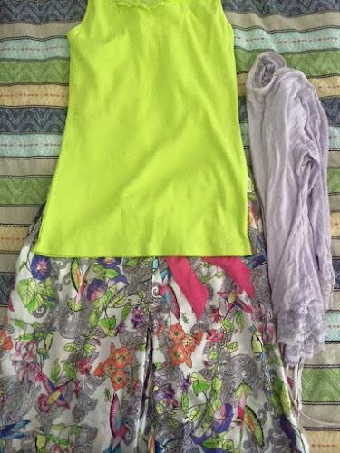 my freshly washed pyjamas - lime green singlet, floral pants, purple jacket