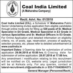CIL Medical Advertisement 2018 www.indgovtjobs.in