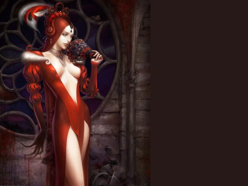 Red Looking Far Fantasy Girl, Magic Beauties 1