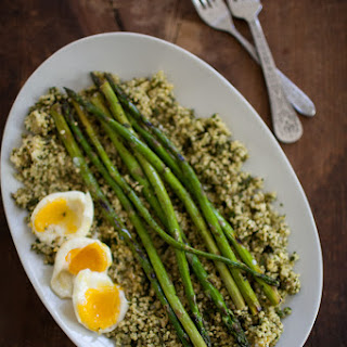 Pesto Millet, Asparagus, and Soft Boiled Eggs.