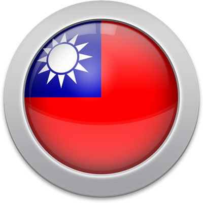 Taiwanese flag icon with a silver frame