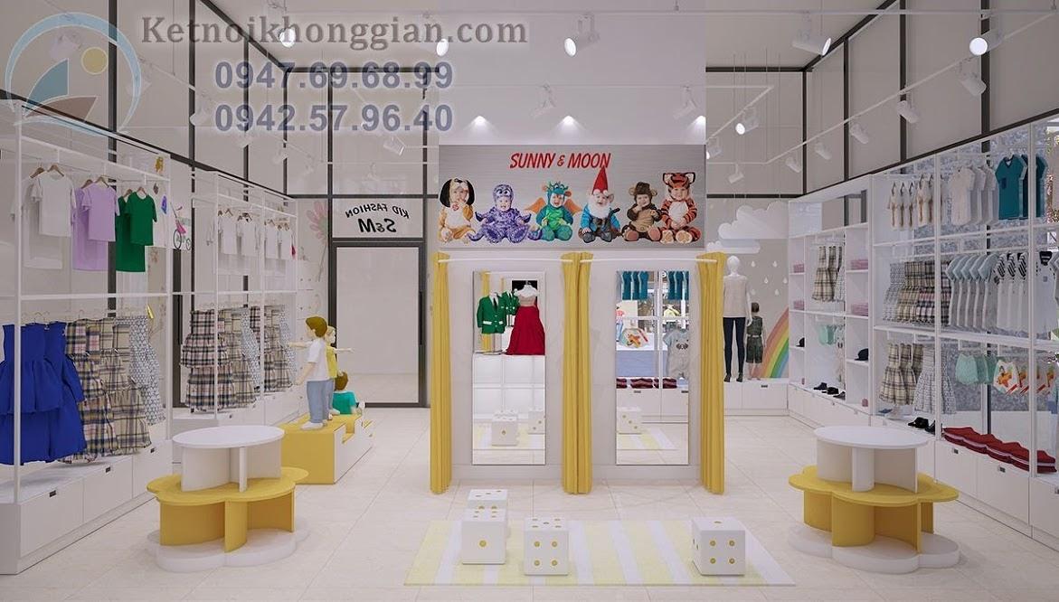 thiết kế shop thời trang mẹ và bé phóng khoáng