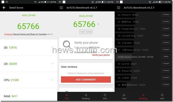 Benchmark Asus Zenfone 4 Selfie Pro ZD552KL AnTuTu v6