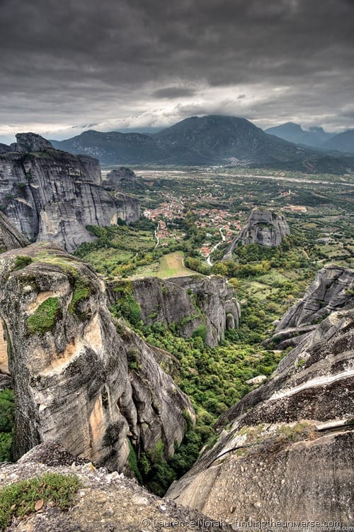 rock formation meteora greece clouds mountains - scaled